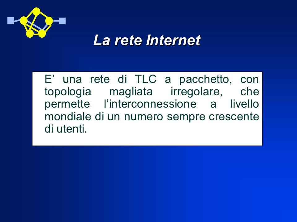 CONCLUSIONI In conclusione possiamo dire che Internet è una Federazione di Reti che collegate attraverso semplici Router comunicano usando la tecnica a commutazione di pacchetto attraverso una medesima famiglia di protocolli TCP/IP.