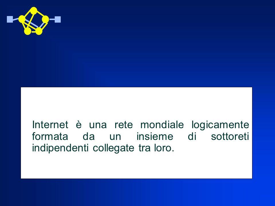 Elementi di Nomenclatura Router: è un nodo di commutazione e instradamento, un nodo intermedio con la capacità di decidere verso quale altro nodo (router) instradare un pacchetto Host: si intende un calcolatore collegato alla rete Internet cui abbiano accesso un certo numero di utenti