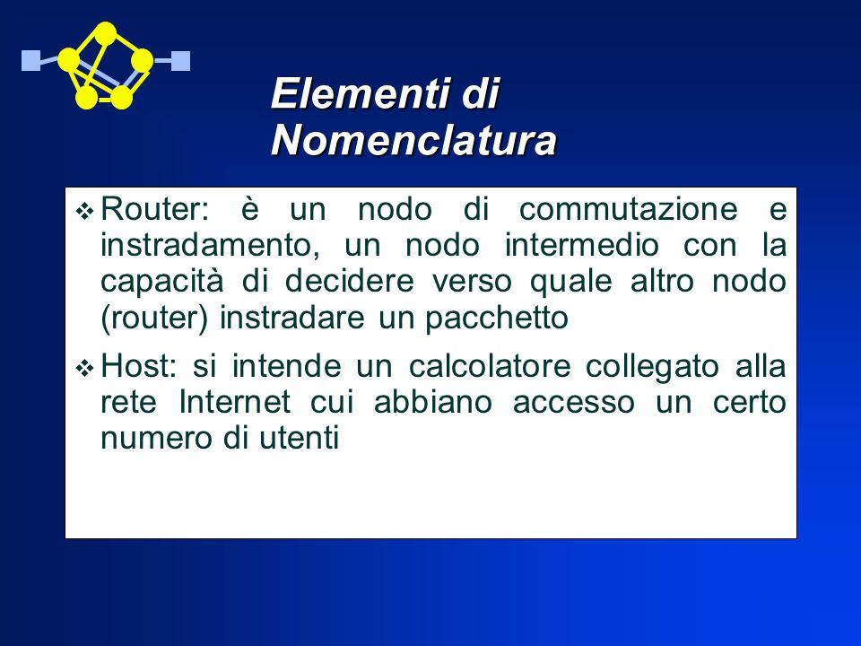 Client e Server: ogni host può comportarsi come client, ovvero come calcolatore in cerca di servizi forniti dalla rete Internet, oppure come server, cioè come calcolatore che fornisce servizi agli utenti della rete Autonomous System: un insieme di host e router, che formano una o più sottoreti, sotto la stessa autorità amministrativa