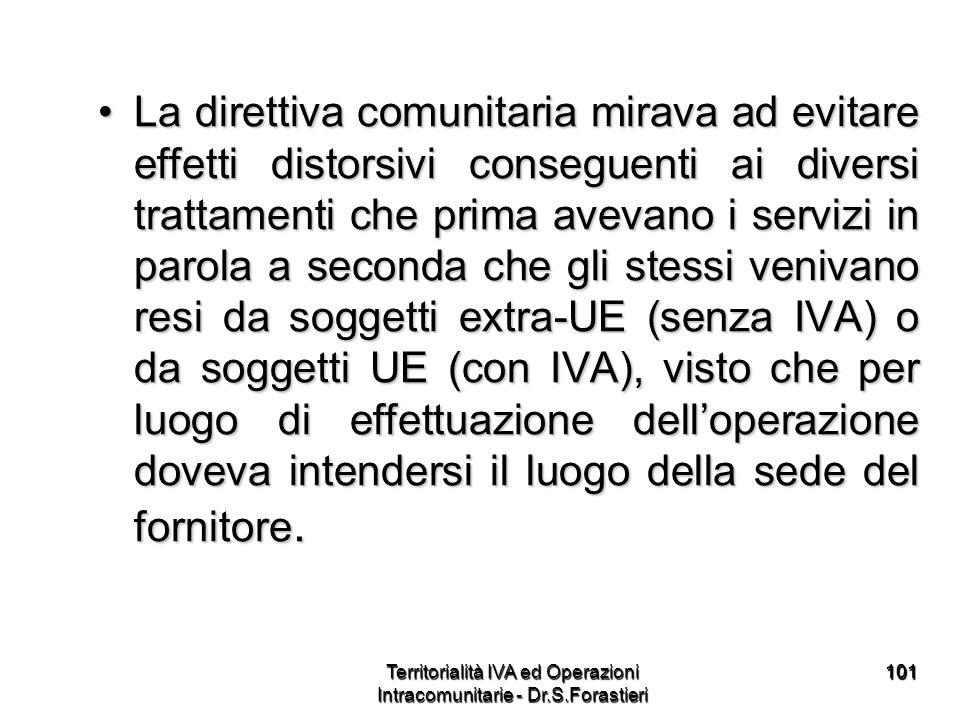 101101 La direttiva comunitaria mirava ad evitare effetti distorsivi conseguenti ai diversi trattamenti che prima avevano i servizi in parola a second