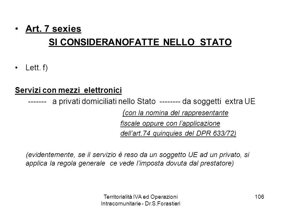 Art. 7 sexies SI CONSIDERANOFATTE NELLO STATO Lett. f) Servizi con mezzi elettronici ------- a privati domiciliati nello Stato -------- da soggetti ex
