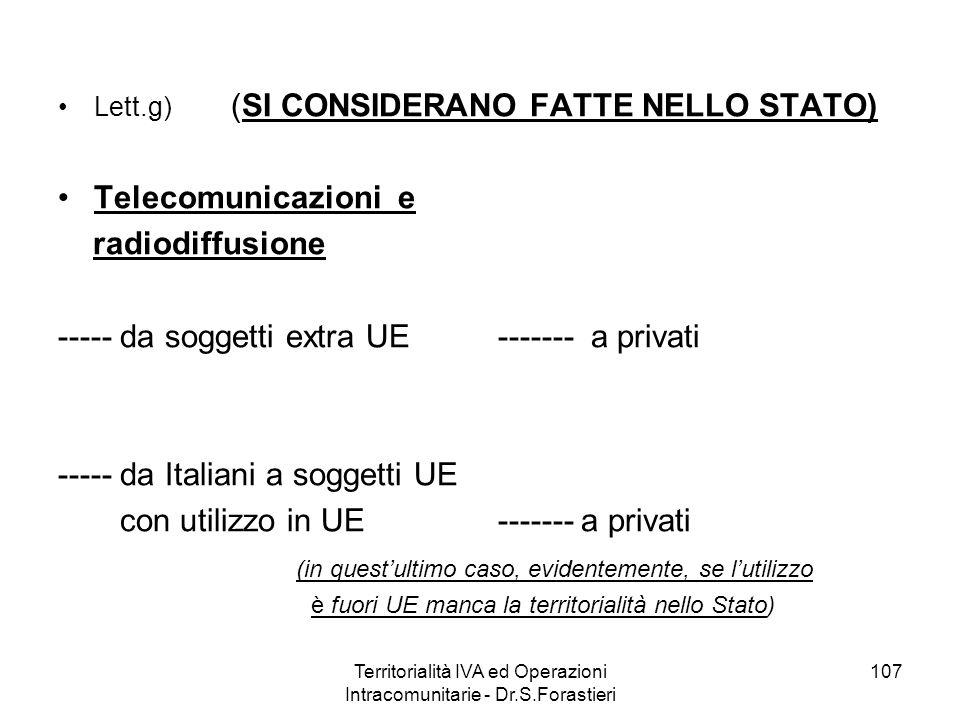 Lett.g) (SI CONSIDERANO FATTE NELLO STATO) Telecomunicazioni e radiodiffusione ----- da soggetti extra UE ------- a privati ----- da Italiani a sogget