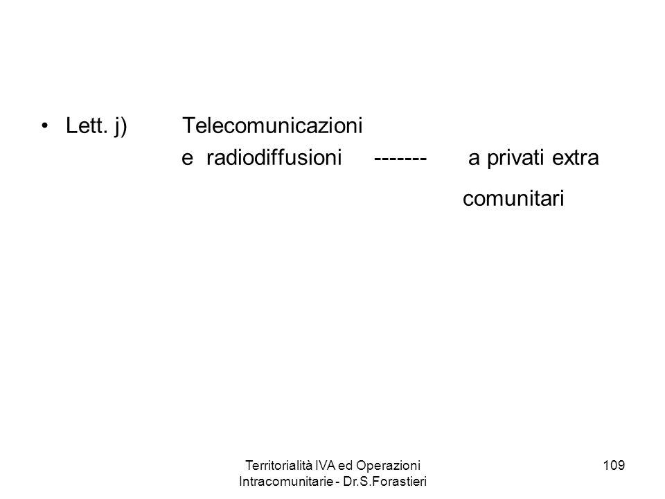 Lett. j) Telecomunicazioni e radiodiffusioni ------- a privati extra comunitari 109Territorialità IVA ed Operazioni Intracomunitarie - Dr.S.Forastieri