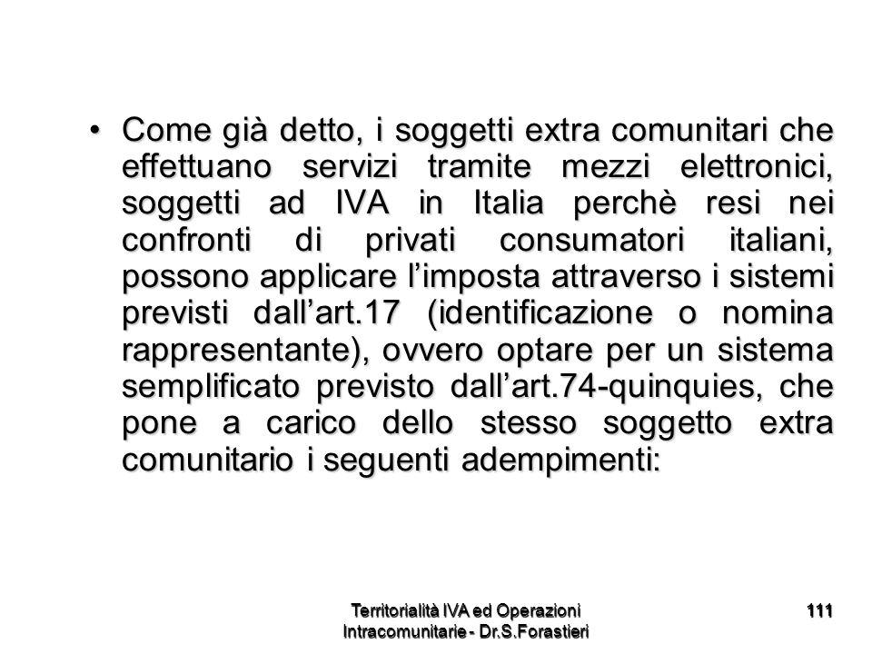 111111 Come già detto, i soggetti extra comunitari che effettuano servizi tramite mezzi elettronici, soggetti ad IVA in Italia perchè resi nei confron