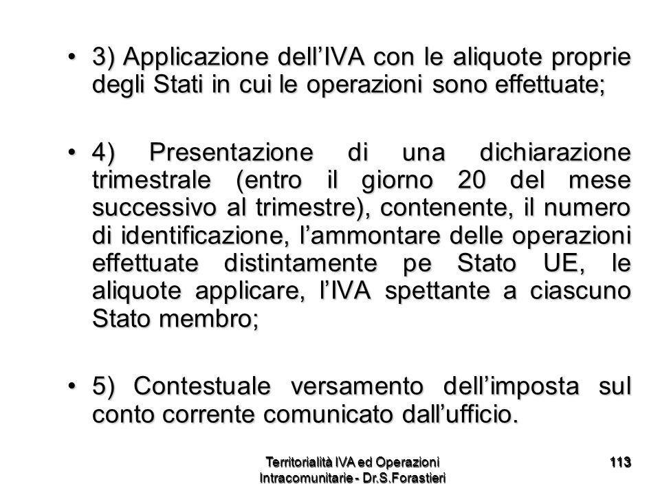 113113 3) Applicazione dellIVA con le aliquote proprie degli Stati in cui le operazioni sono effettuate;3) Applicazione dellIVA con le aliquote propri