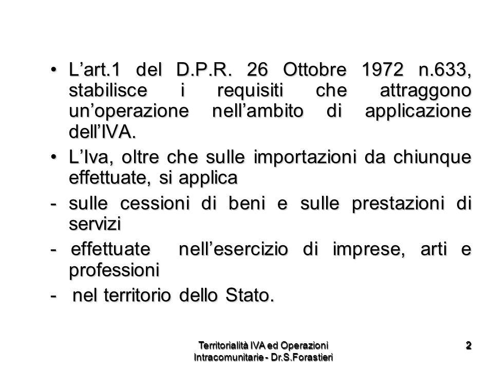 1313 MODALITA DI APPLICAZIONE DELLIVA NEI RAPPORTI CON LESTEROMODALITA DI APPLICAZIONE DELLIVA NEI RAPPORTI CON LESTERO Da ITALIANO a ITALIANO Da ITALIANO a ITALIANO = Imponibile = Imponibile Territorialità IVA ed Operazioni Intracomunitarie - Dr.S.Forastieri
