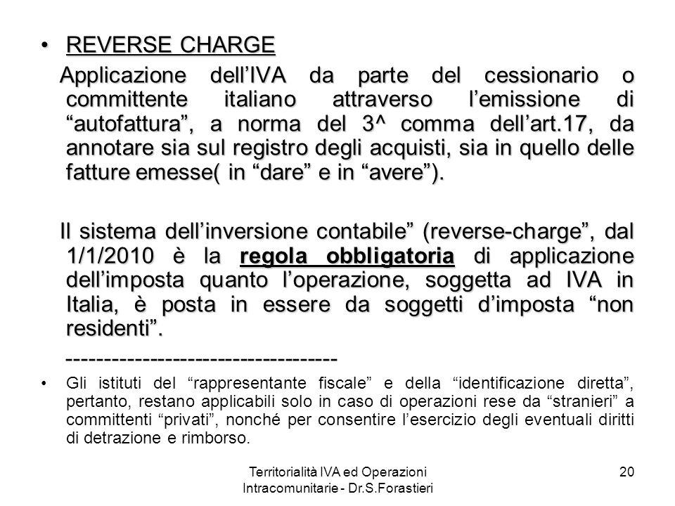 REVERSE CHARGEREVERSE CHARGE Applicazione dellIVA da parte del cessionario o committente italiano attraverso lemissione di autofattura, a norma del 3^