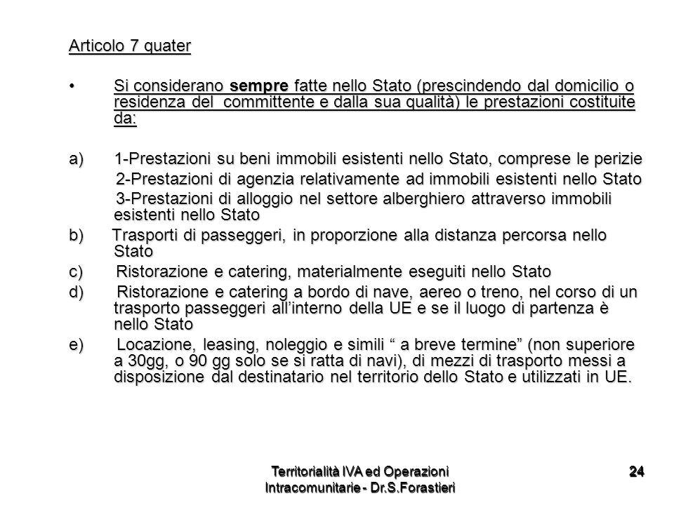 2424 Articolo 7 quater Si considerano sempre fatte nello Stato (prescindendo dal domicilio o residenza del committente e dalla sua qualità) le prestaz