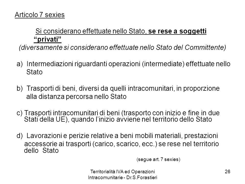 Articolo 7 sexies Si considerano effettuate nello Stato, se rese a soggetti privati (diversamente si considerano effettuate nello Stato del Committent