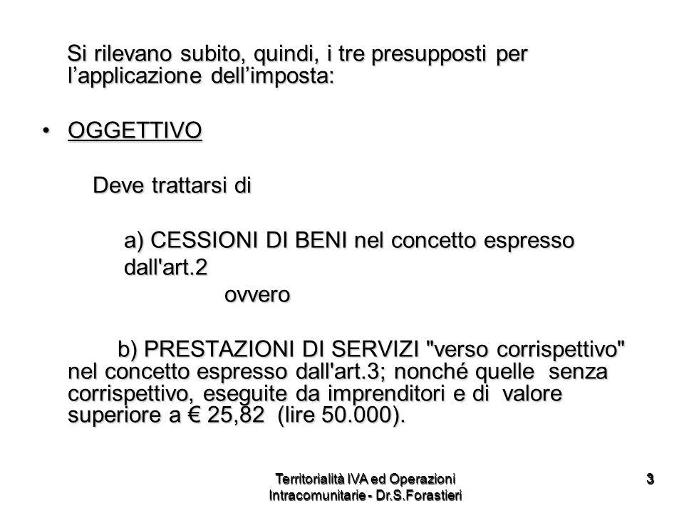 44 SOGGETTIVOSOGGETTIVO - Loperazione deve essere effettuata da (artt.4 e 5 D.P.R.633) -a) imprenditori(artt.2135 e 2195 C.C.), comprese le attività, organizzate in forma dimpresa e dirette alla prestazione di servizi, anche se non rientrano nellart.2195 C.C., e da Enti che comunque svolgono attività commerciale - b) artisti e professionisti Territorialità IVA ed Operazioni Intracomunitarie - Dr.S.Forastieri