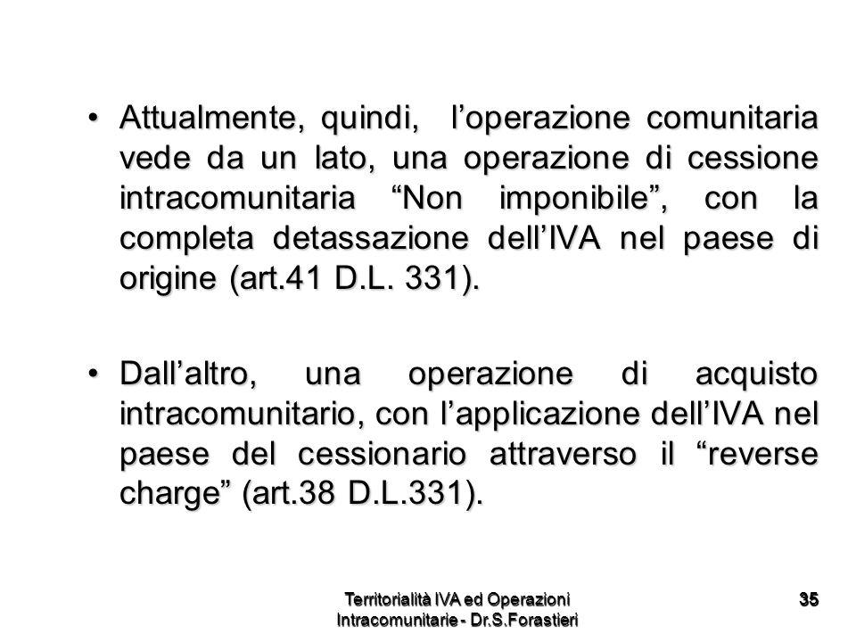 3535 Attualmente, quindi, loperazione comunitaria vede da un lato, una operazione di cessione intracomunitaria Non imponibile, con la completa detassa