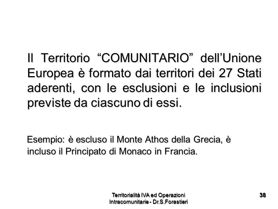 3838 Il Territorio COMUNITARIO dellUnione Europea è formato dai territori dei 27 Stati aderenti, con le esclusioni e le inclusioni previste da ciascun