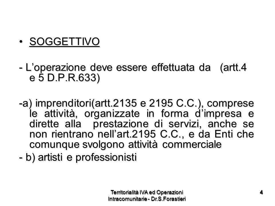 44 SOGGETTIVOSOGGETTIVO - Loperazione deve essere effettuata da (artt.4 e 5 D.P.R.633) -a) imprenditori(artt.2135 e 2195 C.C.), comprese le attività,