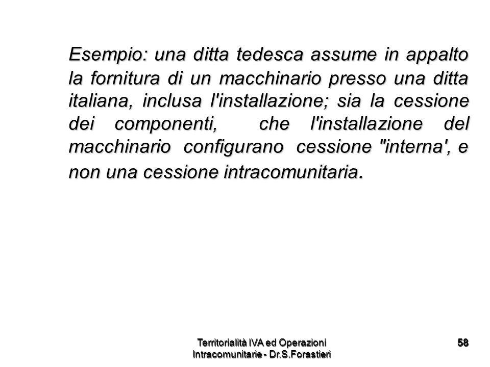 5858 Esempio: una ditta tedesca assume in appalto la fornitura di un macchinario presso una ditta italiana, inclusa l'installazione; sia la cessione d