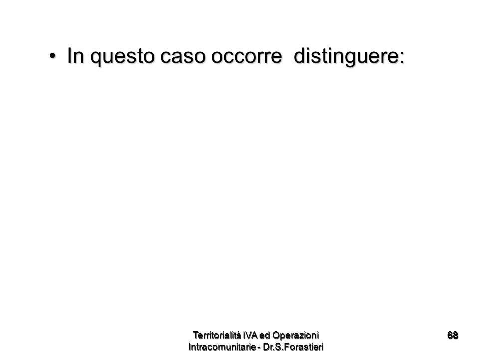 6868 In questo caso occorre distinguere:In questo caso occorre distinguere: Territorialità IVA ed Operazioni Intracomunitarie - Dr.S.Forastieri