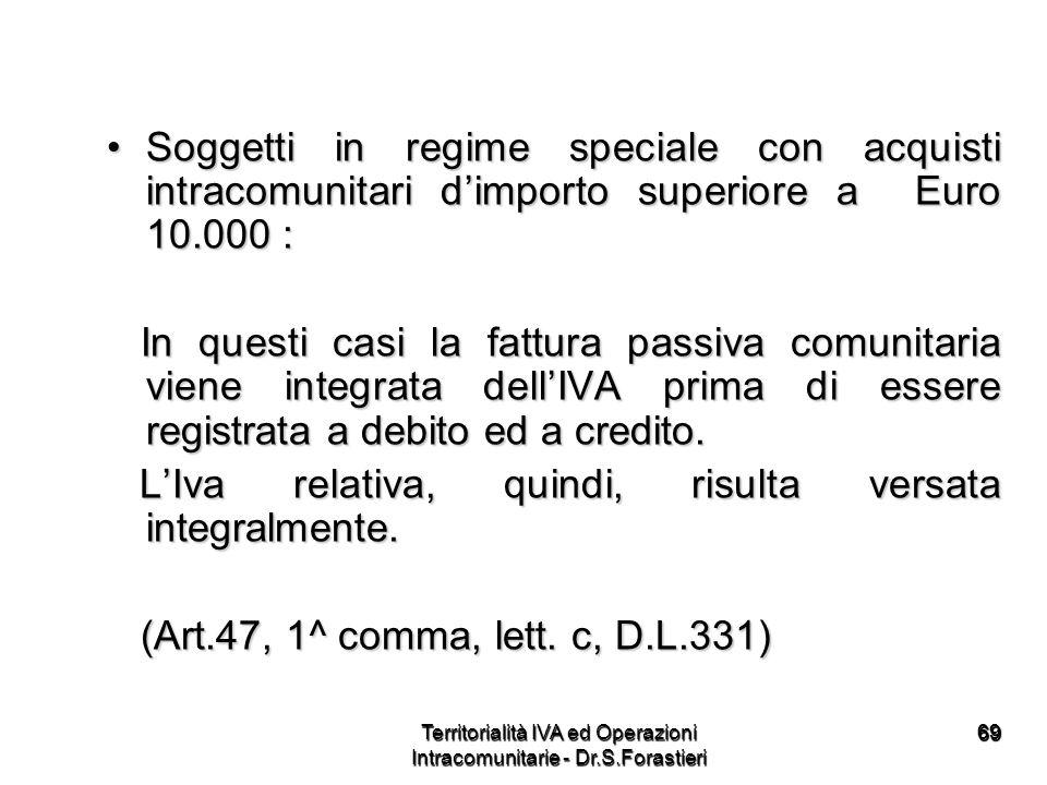 6969 Soggetti in regime speciale con acquisti intracomunitari dimporto superiore a Euro 10.000 :Soggetti in regime speciale con acquisti intracomunita