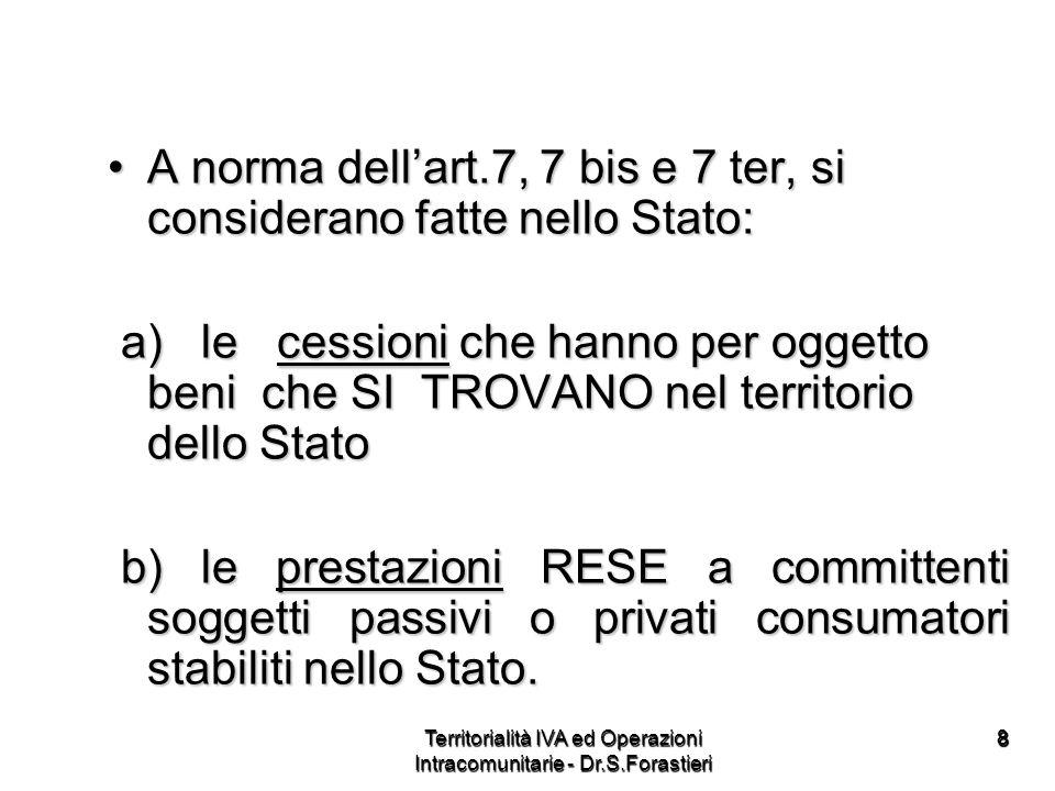 2929 Come abbiamo detto, il concetto di territorialità cambia anche in relazione allesistenza o meno di operazioni che la legge (D.L.