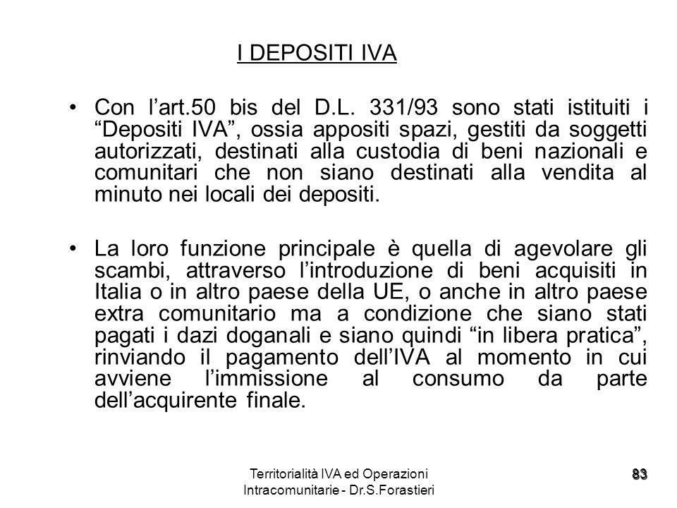 83 I DEPOSITI IVA Con lart.50 bis del D.L. 331/93 sono stati istituiti i Depositi IVA, ossia appositi spazi, gestiti da soggetti autorizzati, destinat