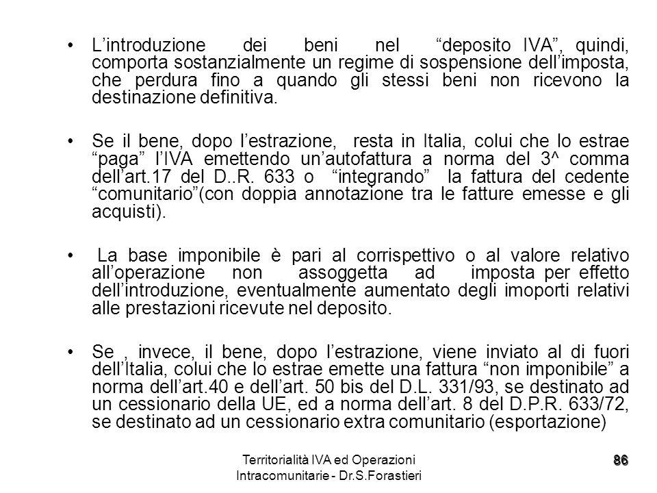 86 Lintroduzione dei beni nel deposito IVA, quindi, comporta sostanzialmente un regime di sospensione dellimposta, che perdura fino a quando gli stess