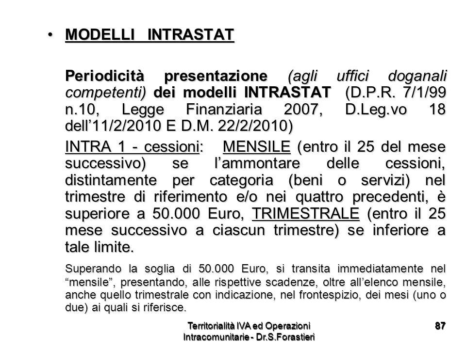 8787 MODELLI INTRASTATMODELLI INTRASTAT Periodicità presentazione (agli uffici doganali competenti) dei modelli INTRASTAT (D.P.R. 7/1/99 n.10, Legge F