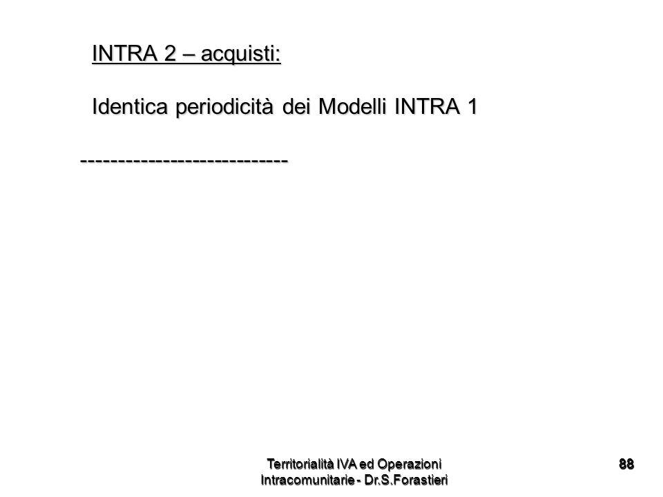 8888 INTRA 2 – acquisti: INTRA 2 – acquisti: Identica periodicità dei Modelli INTRA 1 Identica periodicità dei Modelli INTRA 1 -----------------------