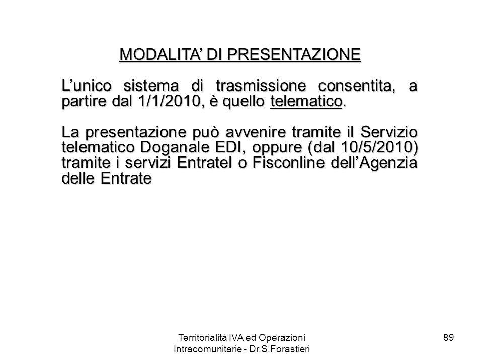 89 MODALITA DI PRESENTAZIONE MODALITA DI PRESENTAZIONE Lunico sistema di trasmissione consentita, a partire dal 1/1/2010, è quello telematico. La pres