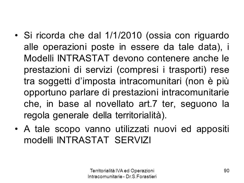 Si ricorda che dal 1/1/2010 (ossia con riguardo alle operazioni poste in essere da tale data), i Modelli INTRASTAT devono contenere anche le prestazio