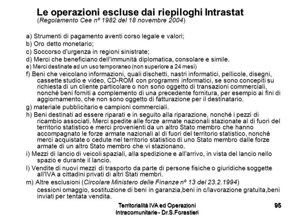 9595 Le operazioni escluse dai riepiloghi Intrastat (Regolamento Cee nº 1982 del 18 novembre 2004) Le operazioni escluse dai riepiloghi Intrastat (Reg