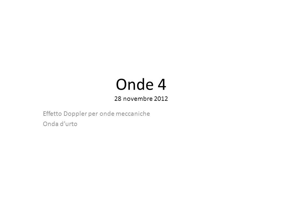 Onde 4 28 novembre 2012 Effetto Doppler per onde meccaniche Onda durto