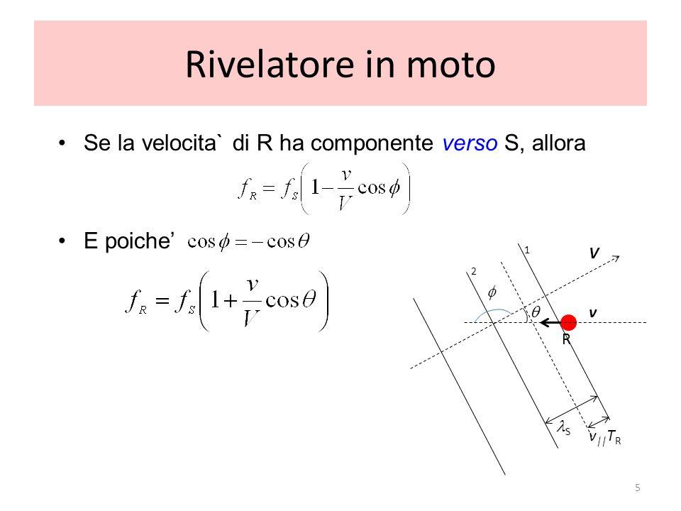 Rivelatore in moto Se la velocita` di R ha componente verso S, allora E poiche 5 R V v 1 2 v || T R S