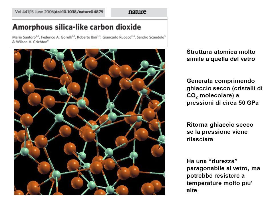 Struttura atomica molto simile a quella del vetro Generata comprimendo ghiaccio secco (cristalli di CO 2 molecolare) a pressioni di circa 50 GPa Ritor
