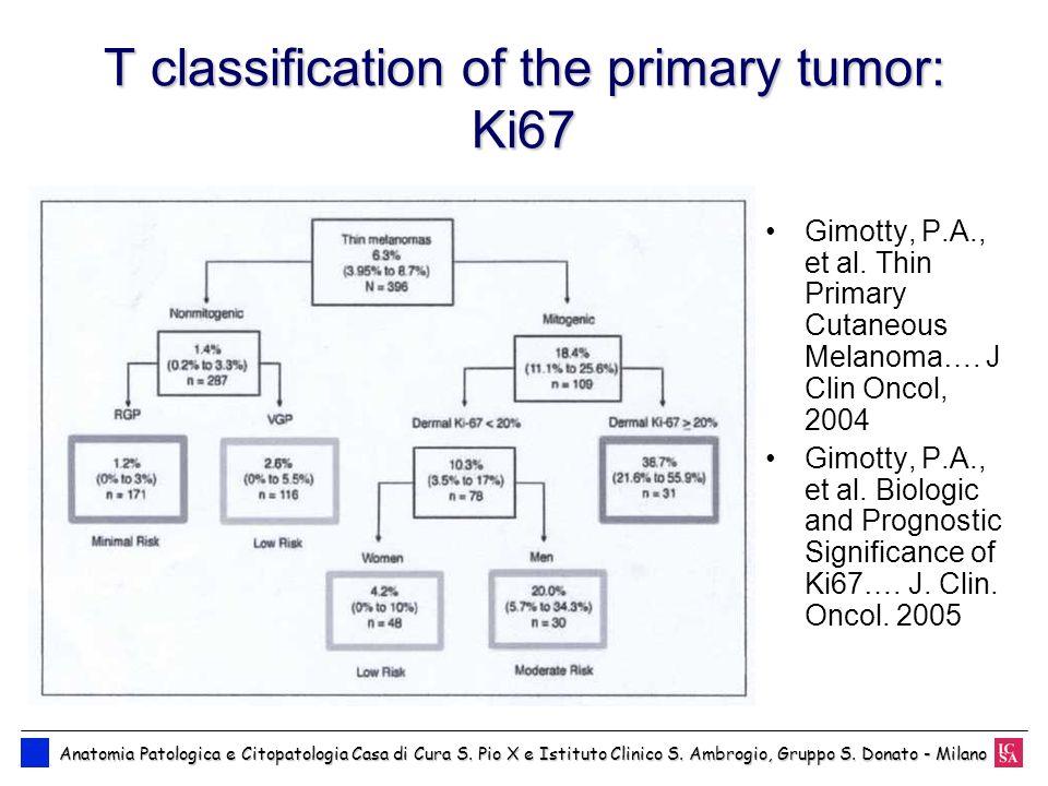 T classification of the primary tumor: Ki67 Anatomia Patologica e Citopatologia Casa di Cura S. Pio X e Istituto Clinico S. Ambrogio, Gruppo S. Donato