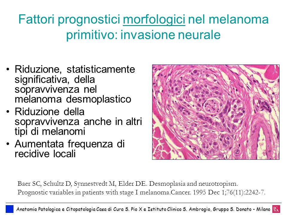 Fattori prognostici morfologici nel melanoma primitivo: invasione neurale Riduzione, statisticamente significativa, della sopravvivenza nel melanoma d