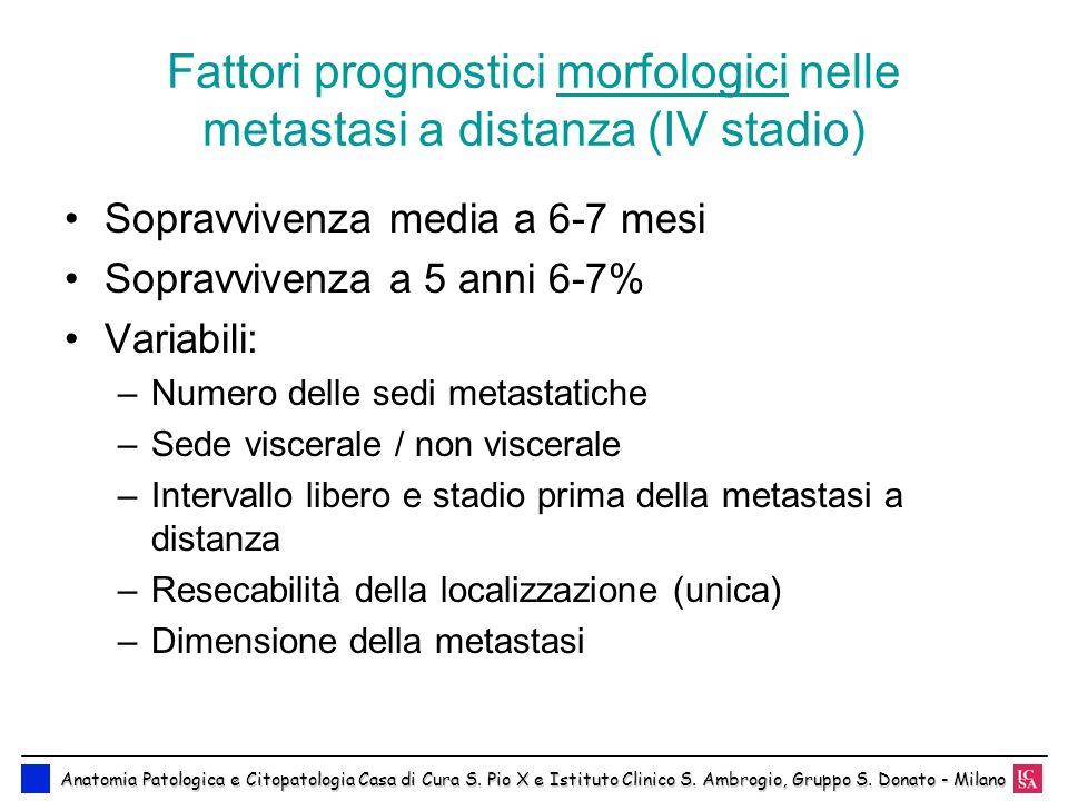 Fattori prognostici morfologici nelle metastasi a distanza (IV stadio) Sopravvivenza media a 6-7 mesi Sopravvivenza a 5 anni 6-7% Variabili: –Numero d