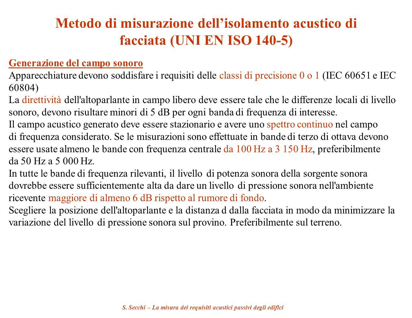 S. Secchi – La misura dei requisiti acustici passivi degli edifici Metodo di misurazione dellisolamento acustico di facciata (UNI EN ISO 140-5) Genera