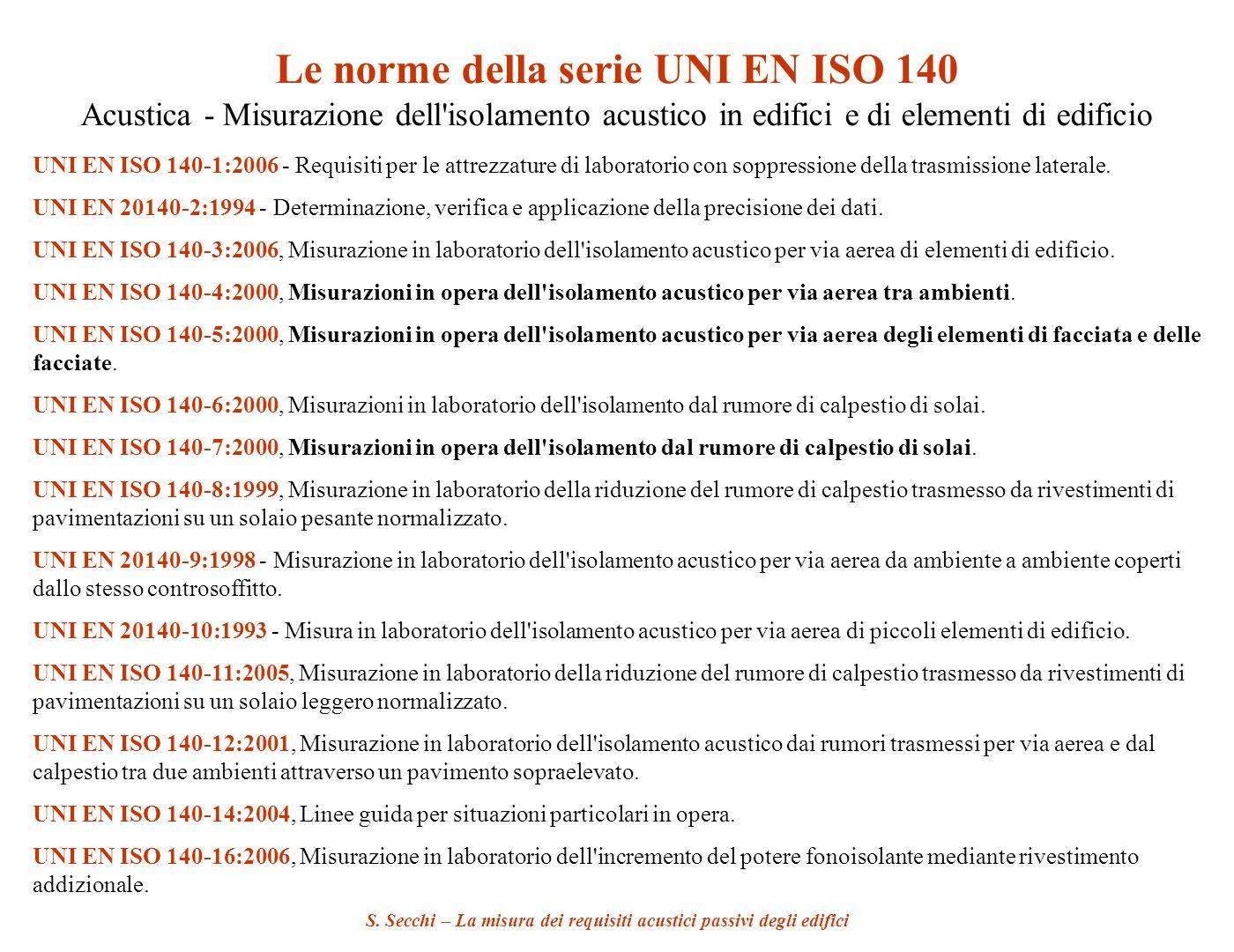 S. Secchi – La misura dei requisiti acustici passivi degli edifici Le norme della serie UNI EN ISO 140 Acustica - Misurazione dell'isolamento acustico