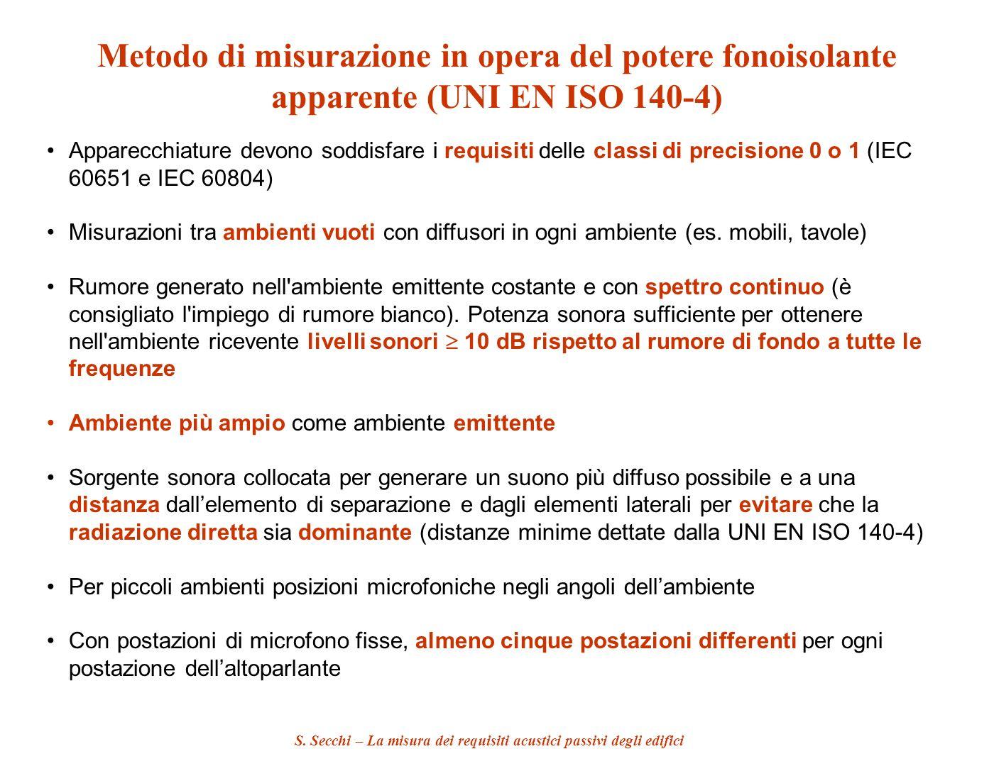 S. Secchi – La misura dei requisiti acustici passivi degli edifici Metodo di misurazione in opera del potere fonoisolante apparente (UNI EN ISO 140-4)