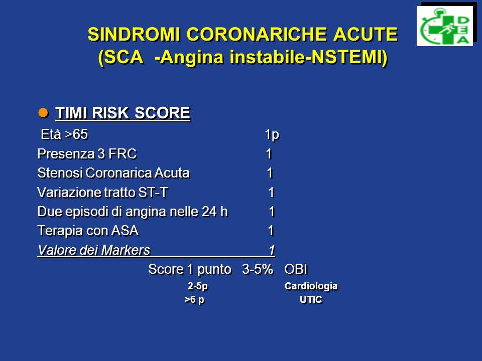 IL PAZIENTE con DOLORE TORACICO Chest Pain Score Localizzazione Dolore Restrosternale-Precordiale +3 Emitirace inistro-Collo Epigastrio +2 Apice -1 Carattere O ppressivo-lacerante-a morsa +3 Peso-Restringimento +2 Puntorio,pleuritico,pinzettante -1 Irradiazione Braccia-spalla-dorso-collo-mandibola +1 Sintomi associati Dispnea-nausea-sudorazione +2 Storia di angina +3 ______________________________________________ Score < 4 Basso rischio 4-10 Probabilità intermedia >10 Alto rischio Localizzazione Dolore Restrosternale-Precordiale +3 Emitirace inistro-Collo Epigastrio +2 Apice -1 Carattere O ppressivo-lacerante-a morsa +3 Peso-Restringimento +2 Puntorio,pleuritico,pinzettante -1 Irradiazione Braccia-spalla-dorso-collo-mandibola +1 Sintomi associati Dispnea-nausea-sudorazione +2 Storia di angina +3 ______________________________________________ Score < 4 Basso rischio 4-10 Probabilità intermedia >10 Alto rischio
