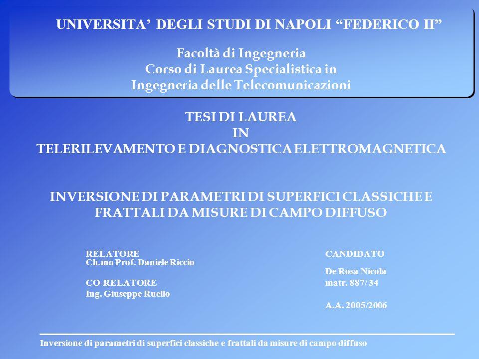 Inversione di parametri di superfici classiche e frattali da misure di campo diffuso UNIVERSITA DEGLI STUDI DI NAPOLI FEDERICO II Facoltà di Ingegneri