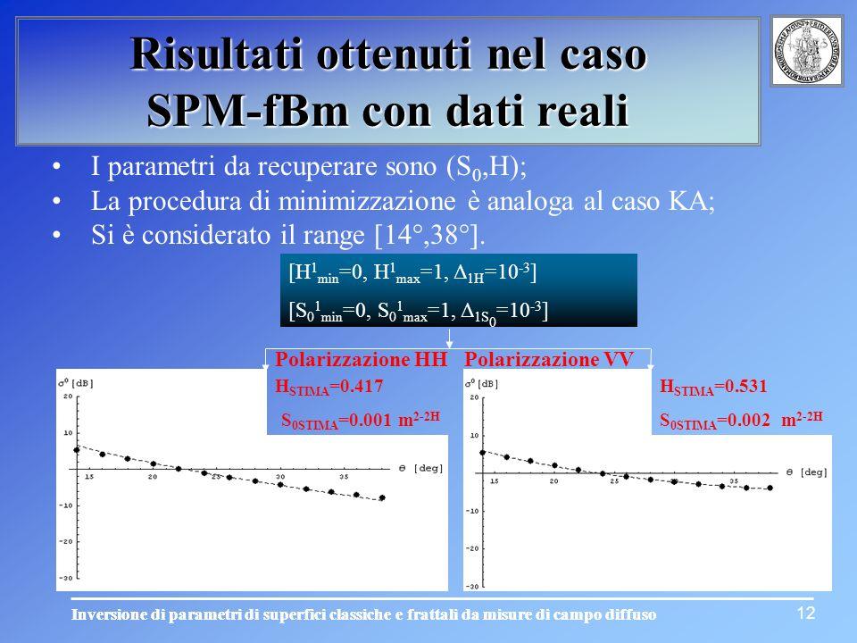 12 Risultati ottenuti nel caso SPM-fBm con dati reali Polarizzazione VV H STIMA =0.531 S 0STIMA =0.002 m 2-2H I parametri da recuperare sono (S 0,H);
