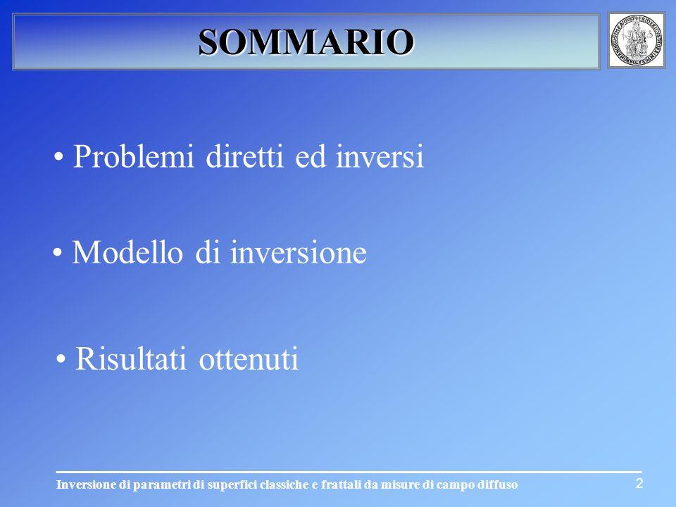 Inversione di parametri di superfici classiche e frattali da misure di campo diffuso 2 SOMMARIO Modello di inversione Risultati ottenuti Problemi dire