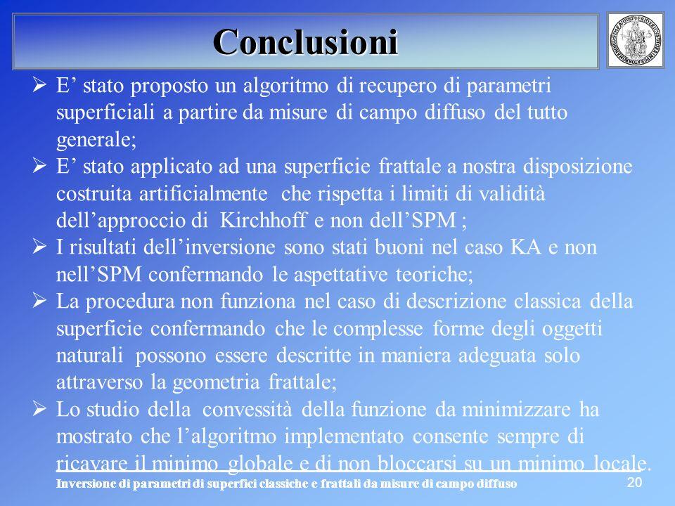 Inversione di parametri di superfici classiche e frattali da misure di campo diffuso 20 Conclusioni E stato proposto un algoritmo di recupero di param