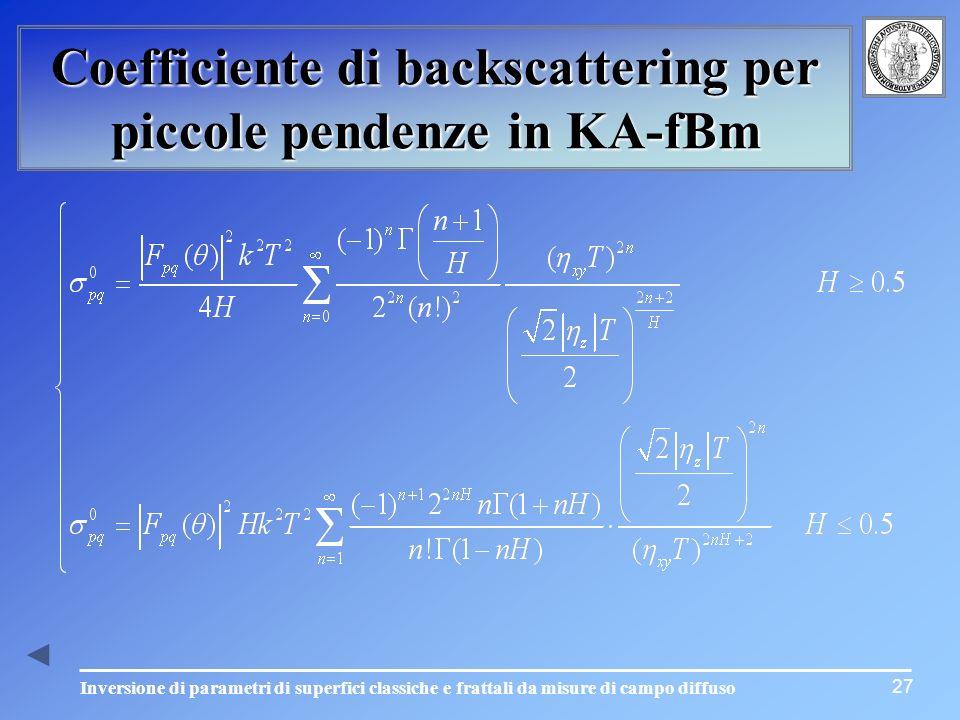 Inversione di parametri di superfici classiche e frattali da misure di campo diffuso Coefficiente di backscattering per piccole pendenze in KA-fBm 27