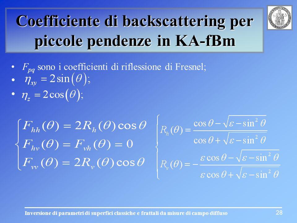 Inversione di parametri di superfici classiche e frattali da misure di campo diffuso Coefficiente di backscattering per piccole pendenze in KA-fBm 28