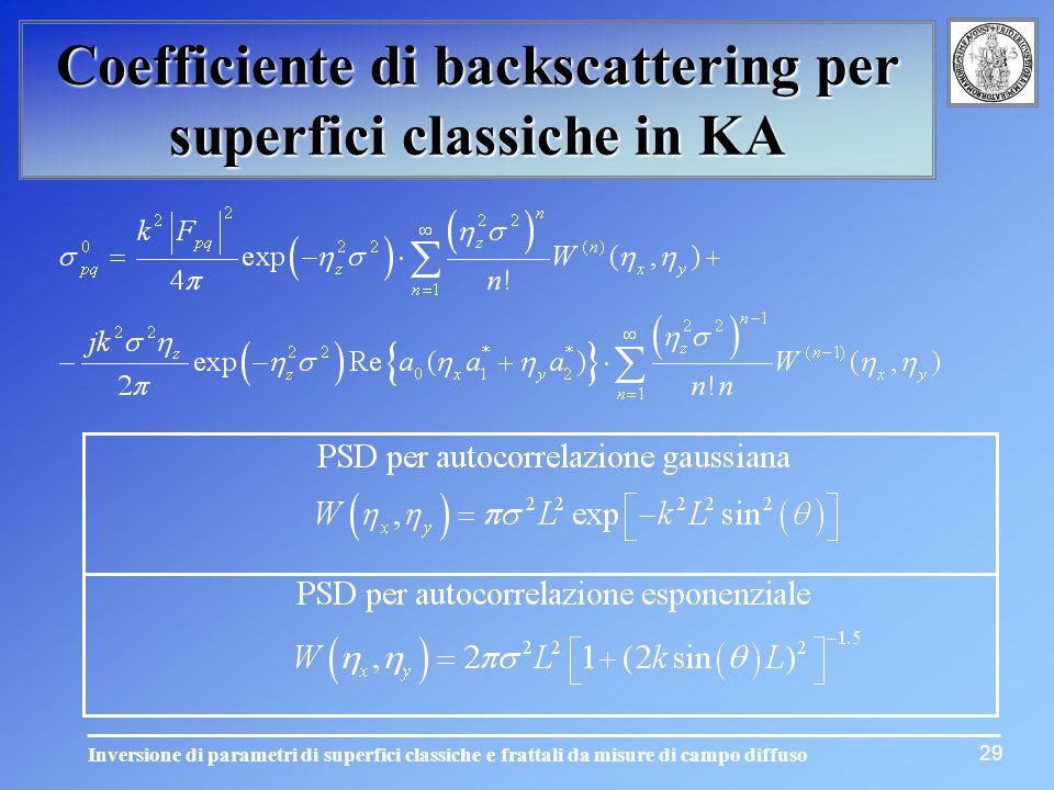 Inversione di parametri di superfici classiche e frattali da misure di campo diffuso Coefficiente di backscattering per superfici classiche in KA 29