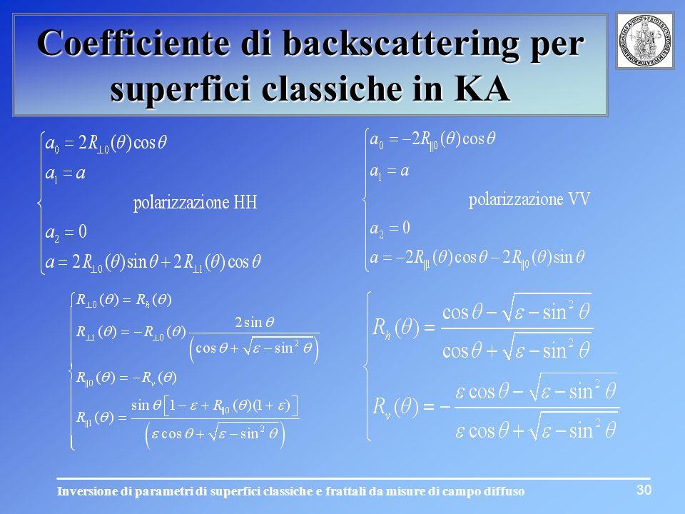 Inversione di parametri di superfici classiche e frattali da misure di campo diffuso 30 Coefficiente di backscattering per superfici classiche in KA