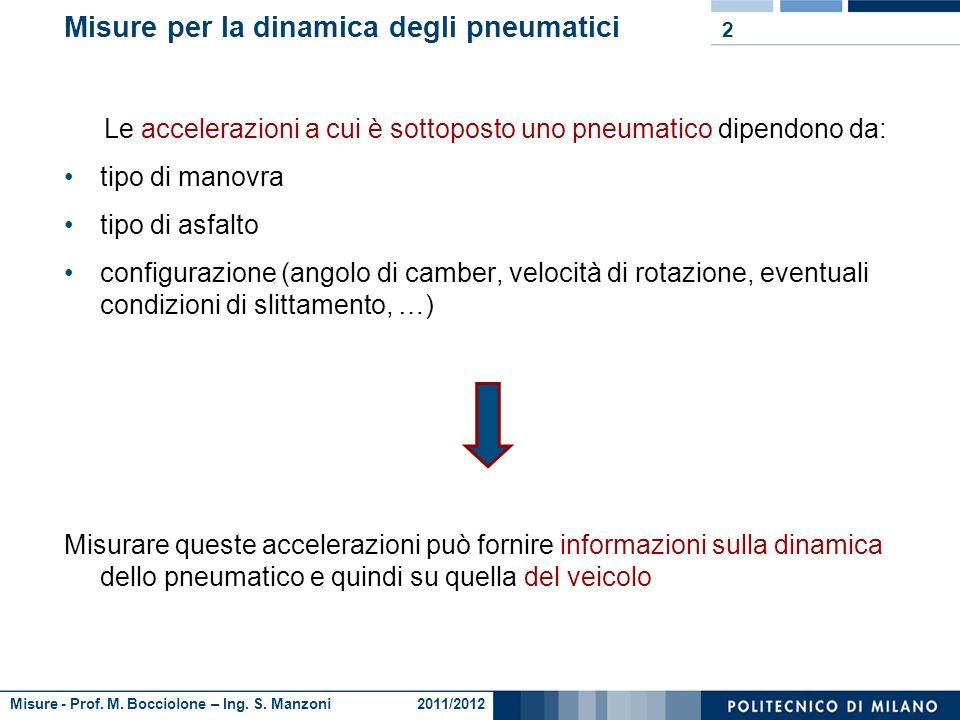Misure - Prof. M. Bocciolone – Ing. S. Manzoni 2011/2012 Misure per la dinamica degli pneumatici Analisi dinamica dello pneumatico di un veicolo strad