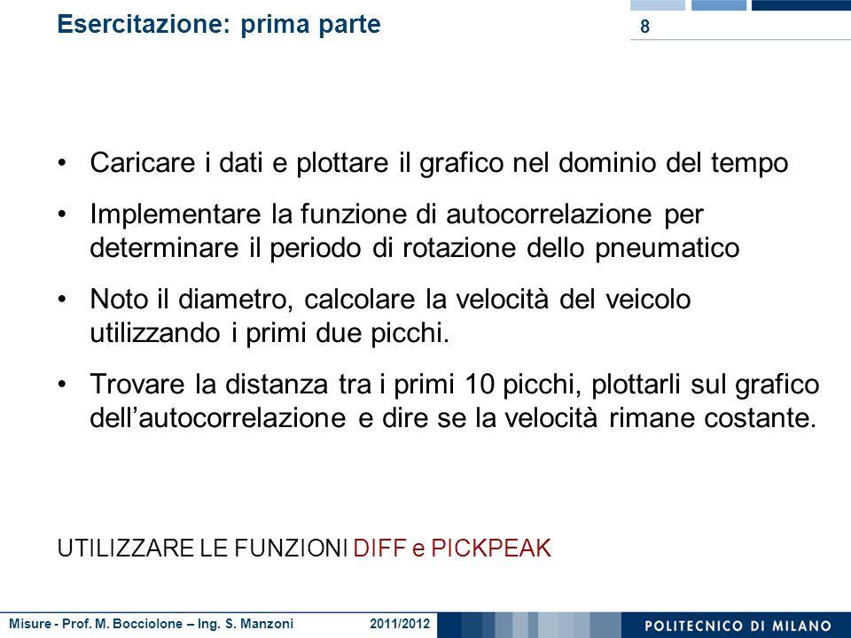 Misure - Prof. M. Bocciolone – Ing. S. Manzoni 2011/2012 Autocorrelazione 7 Posso applicare questa formula così comè? Oppure devo tener conto che il v