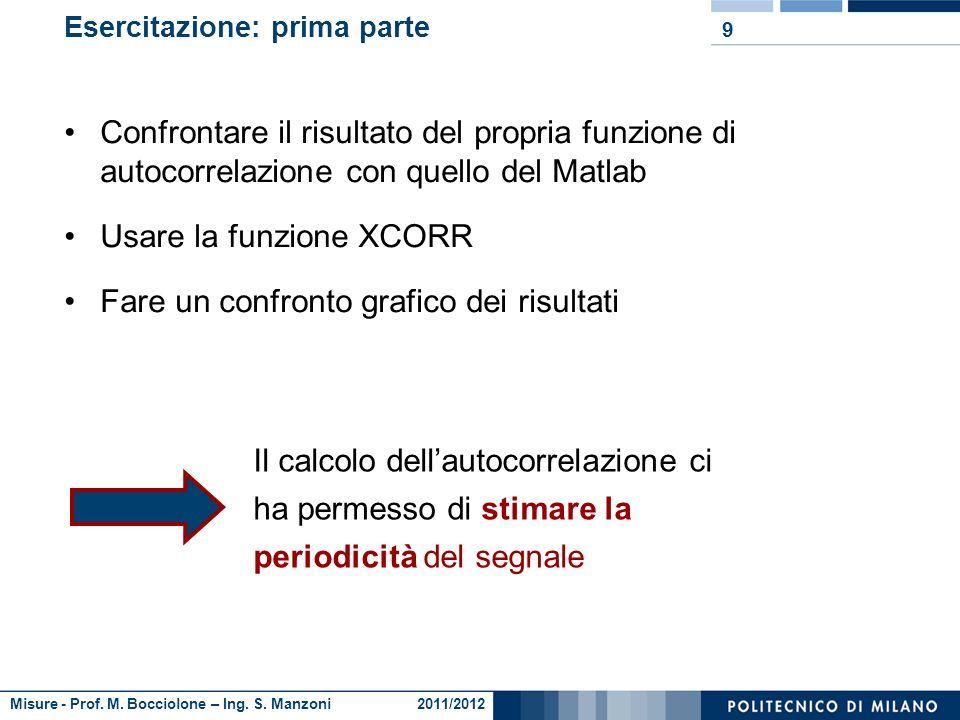 Misure - Prof. M. Bocciolone – Ing. S. Manzoni 2011/2012 Esercitazione: prima parte Caricare i dati e plottare il grafico nel dominio del tempo Implem