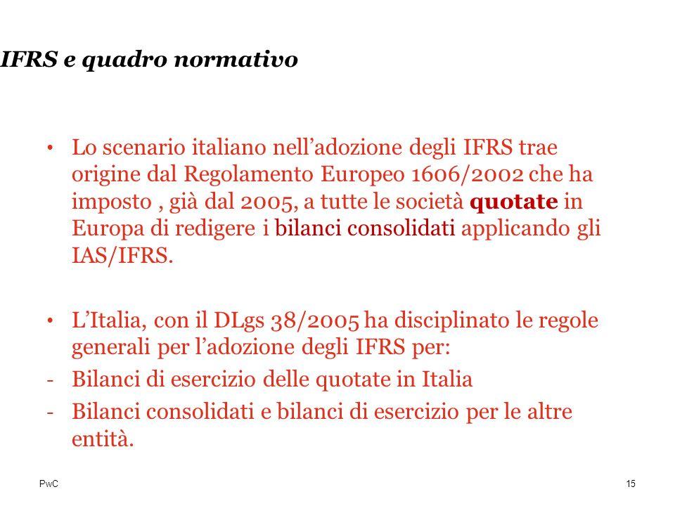PwC IFRS e quadro normativo Lo scenario italiano nelladozione degli IFRS trae origine dal Regolamento Europeo 1606/2002 che ha imposto, già dal 2005,